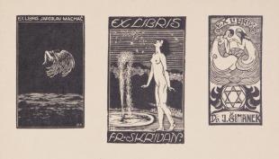 Ex libris Fr. Skřivan. Ex libris Jaroslav Machač. Ex libris Dr. J. Šimánek.