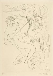 Herakles - list č. 4 - Zahnání stymfálských dravých ptáků