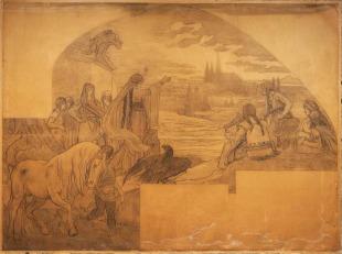 Libušino proroctví – karton k mozaice ve vestibulu Staroměstské radnice